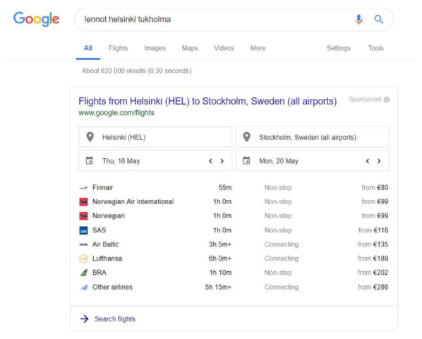 Google hakutulokset