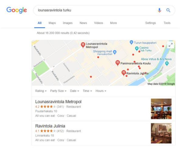 Paikalliset hakutulokset Googlessa